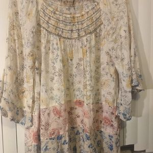 Democracy pretty flower peasant blouse